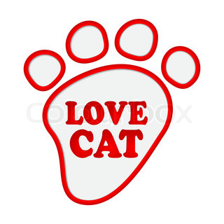 Paw print stickers with text love cat