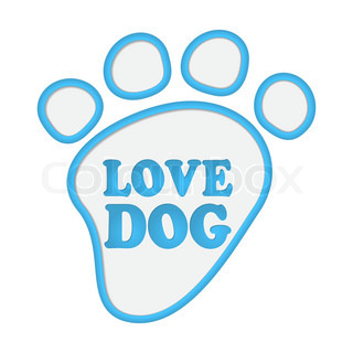 Paw print stickers with text love dog
