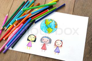 Children of different nationalities and Earth