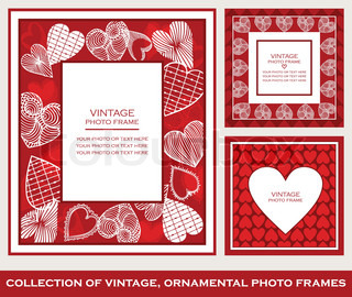 Retro, abstract photo frames set on St. Valentine's Day, cartoon hearts ornaments, red and white patterns, greetings and invitations, beautiful cards for decoration and design