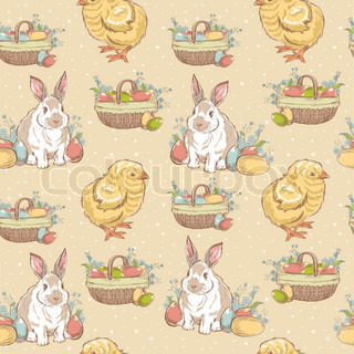 Easter vintage hand-drawn seamless pattern with chicken, rabbit and basket full of painted eggs