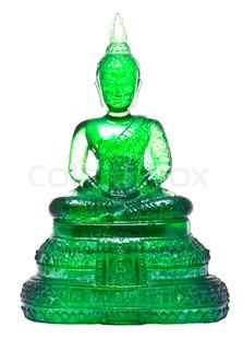 Green glass Buddha statue