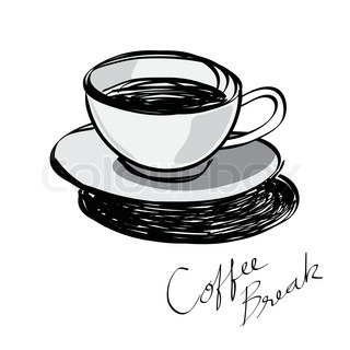 Cup Of Coffee Hand Drawn Vector Colourbox