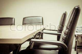 black & white of empty boardroom or meeting room
