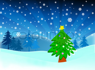 Cartoon Christmas tree on snow blue background