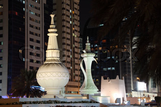 Mabaakhur- traditional arabian incense burner monument in Abu Dhabi, United Arab Emirates