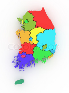 Three-dimensional map of Southern Korea