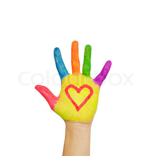 Colorful painted hand with the heart symbol drawn on the palms