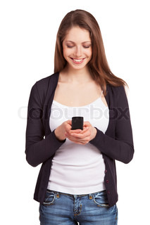 Cheerful girl with a mobile phone