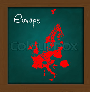 hand drawing grunge colorful Europe mapon green chalkboard classroom