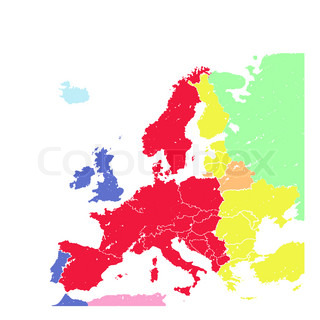 Hand drawing grunge colorful Europe map isolated on white