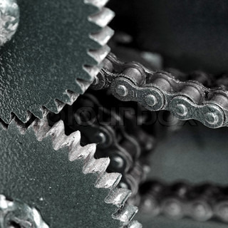Close up of chain gears