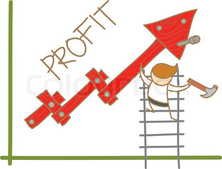 Cartoon Character Ofman Building Profit Up Graph Vector