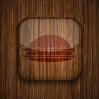 Vector wooden app icon on wooden background Eps10