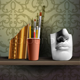 Davids nose and different art brushes on the shelf