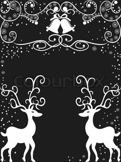 the background of reindeer with floralDecoration for christmas