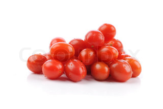Red fresh cherry tomatoes isolated on a white background