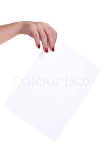 Sheet of paper in the hands of women