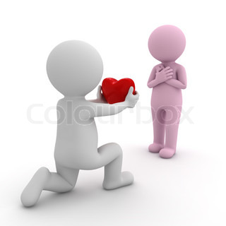 3d man getting down on one knee and giving heart to his girlfriend over white background