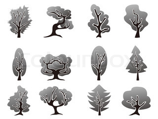 black tree icons set