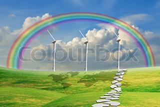 Turbine Power Generator On Grass Field Under The Blue Sky