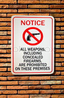 The Sign of no weapon allowed isolated on wall background