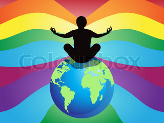 man sitting on earth and doing meditation