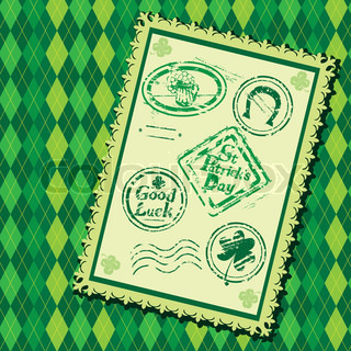 Set of Green grunge rubber stamps with Beer mug, shamrock,horseshoe and texts St Patrick's Day, Good Luck On checked seamless background