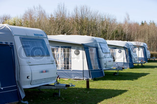 Caravans in a danish camping site during summer holiday ...