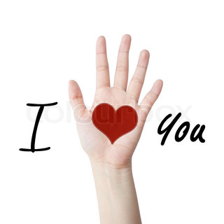 I love you with hand