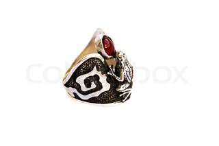 Ancient style ring with garnet