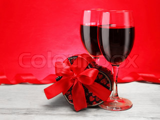 Romantic Valentine Gift with Red Wine