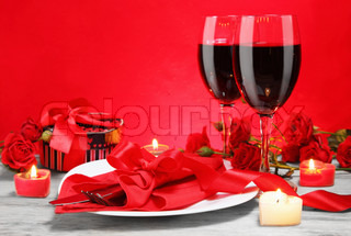 Romantic Candlelight Dinner for Two Lovers Concept Horizontal
