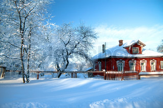 the beautiful rural house brought by snow