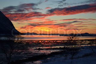 Colourful sunset on the island of Senja