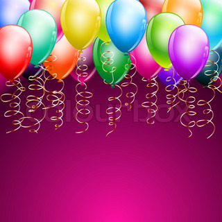 Happy birthday balloons frame with confetti | Vector ...