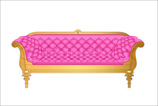 Of A Pink Vintage Sofa On White Vector Colourbox