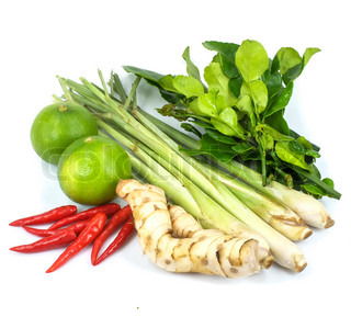 Herbal ingredients for tom yam thai food stock photo for 8 spices thai cuisine