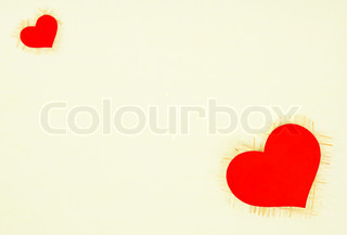 the texture of the paper card with a red heart