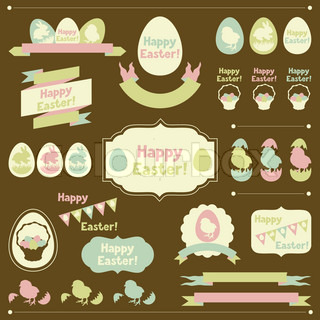 Set of Happy Easter ornaments and decorative elements