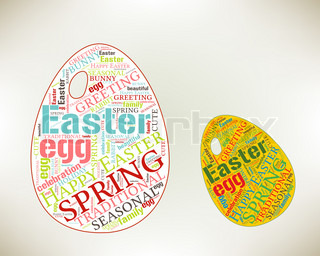 Happy Easter word cloud concept with egg silhouette Season Greetingsword cloud, tag cloud text business concept Word collage