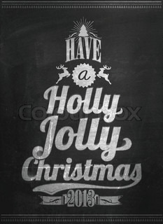 Vintage Merry Christmas And Happy New Year Calligraphic And Typographic Background