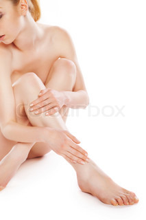 picture of healthy naked woman sitting over white