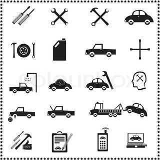 Auto Repairs Icons set, Vector illustration