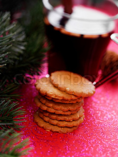 Traditional danish Christmas cookies and a glass of warm glogg