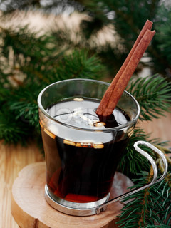 A glass of warm glogg - a traditional danish Christmas beverage