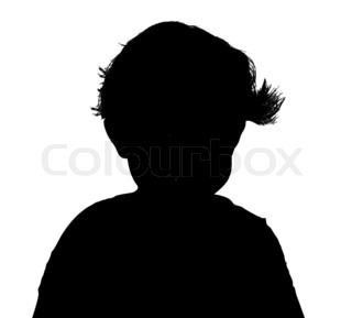 Silhouette of baby head with hair isolated on white background