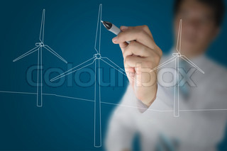 Hand of Business Man Draw Turbine Power Generator