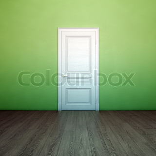 Empty Light Green Interior With White Door