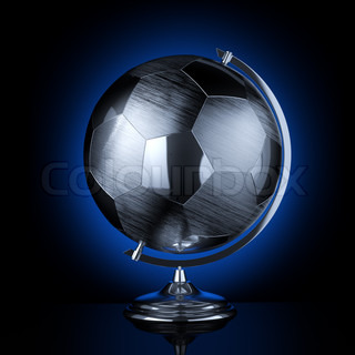 Stylish stainless steel globe of the soccer tournament (the version with the blue background light)